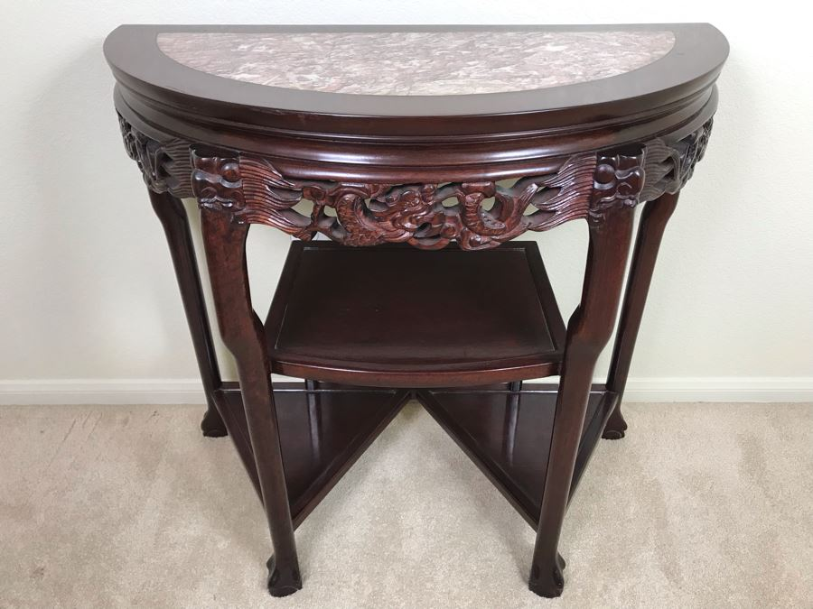 Stunning Vintage Chinese Marble Top Demilune Carved Wooden Etagere Table Featuring Dragon Serprent Carvings [Photo 1]