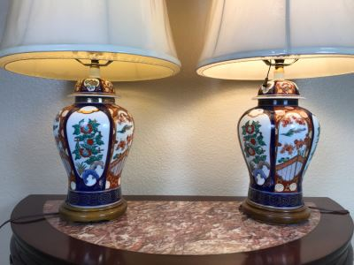 Pair Of Japanese Imari Hand Painted Porcelain Table Lamps