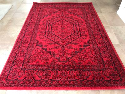 Brilliant Red And Black Synthetic Area Rug By Safavieh Adirondack 5'1' X 7'6' From Turkey
