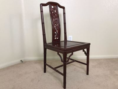 Vintage Rosewood Chinese Chair With Bamboo Motif