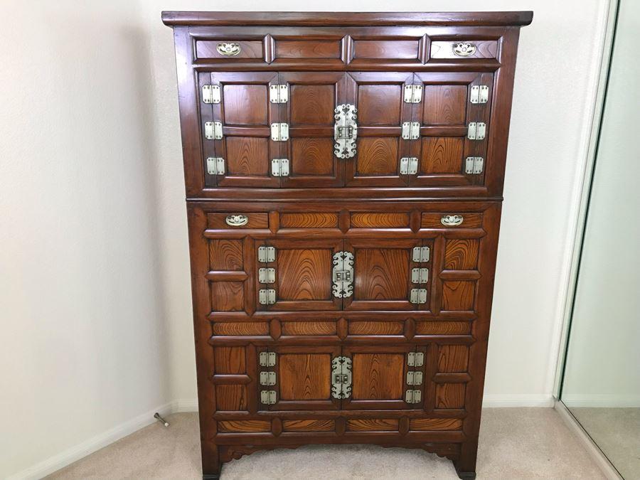 Stunning Antique Korean 2 Piece Wooden Cabinet