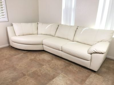 Like New 100% Leather White Cream Ikea Vreta 2-Piece Sectional Sofa 10'W X 53'D