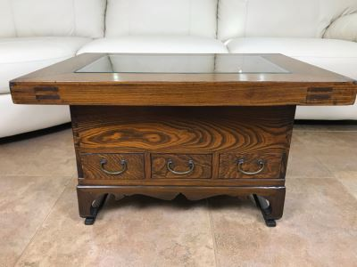 Antique Japanese Wooden Hibachi Coffee Side Table With Drawers