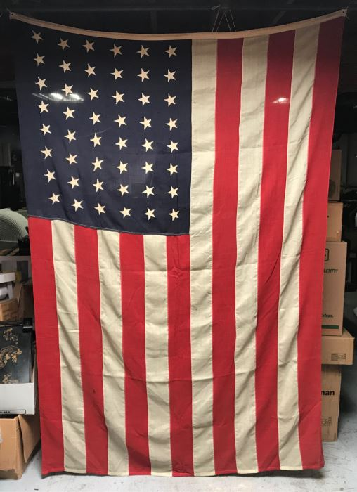 Large Vintage 48 Star Sewn United States American Linen Flag 8'5'W X 5'6'H [Photo 1]