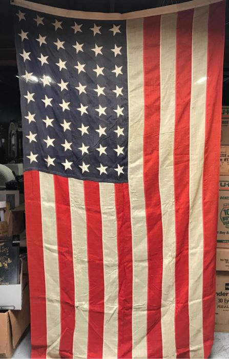 Large Vintage 48 Star Sewn United States American Linen Flag 9'6'W X 4'6'H [Photo 1]