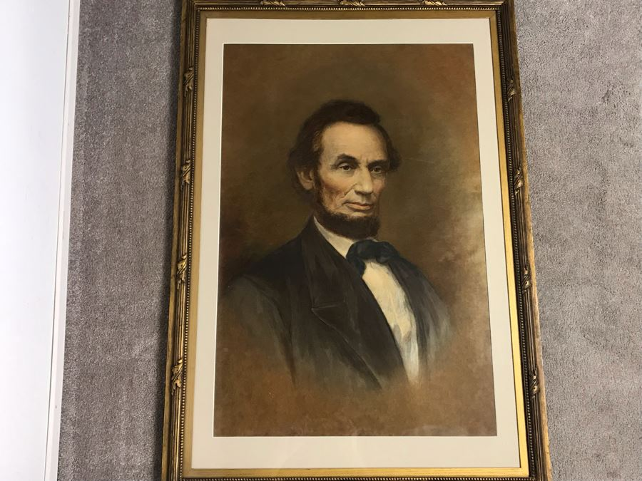 Stunning Framed Antique Abraham Lincoln Hand Colored Engraving Portrait - See Photos For Details 32W X 45H [Photo 1]