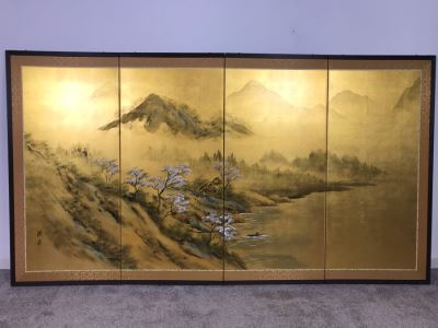 Vintage Signed Original Gold Leaf Screen Landscape Painting Excellent Condition 66W X 36H