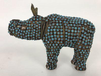Old Nepalese Tibetan Brass Filigree Rhinoceros With Inlayed Turquoise 6W X 4H