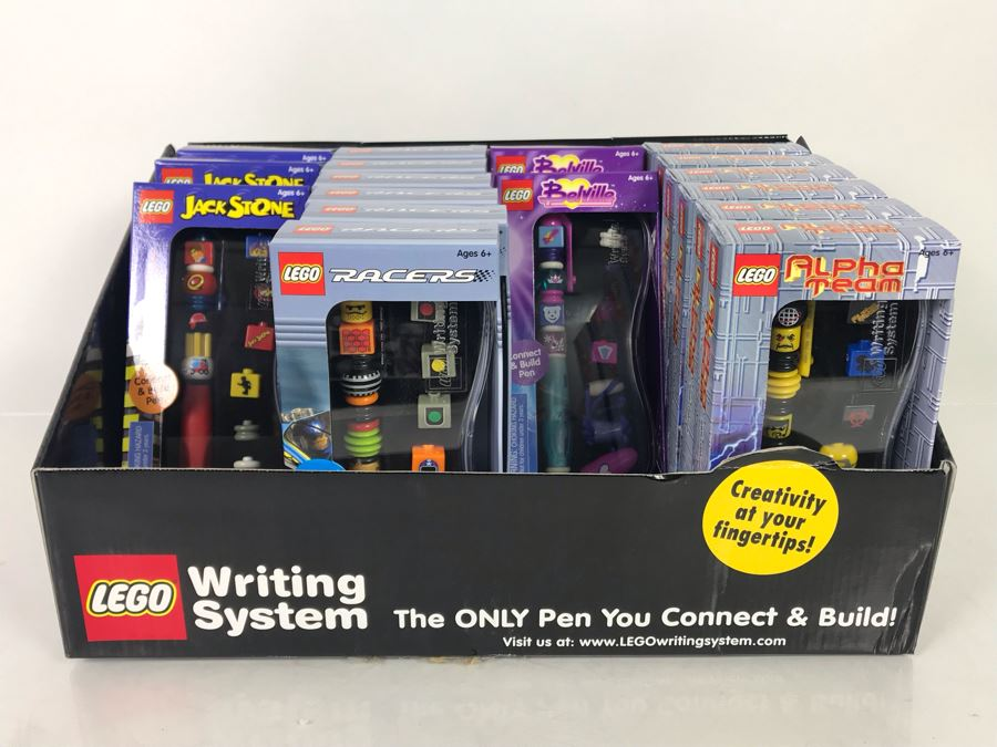 (17) New LEGO Collectible Pens With Store Merchandiser: Jack Stone, Racers, Belville And Alpha Team Pens [Photo 1]