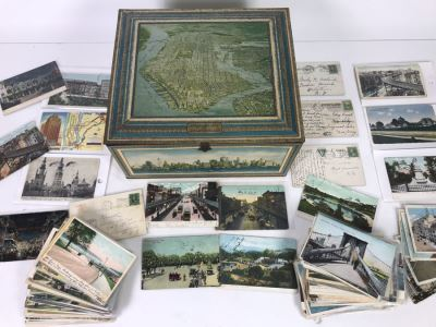 Collection Of Over 100 Antique / Vintage New York City Themed Postcards (Some Postmarked) And Vintage New York City Manhattan Tin