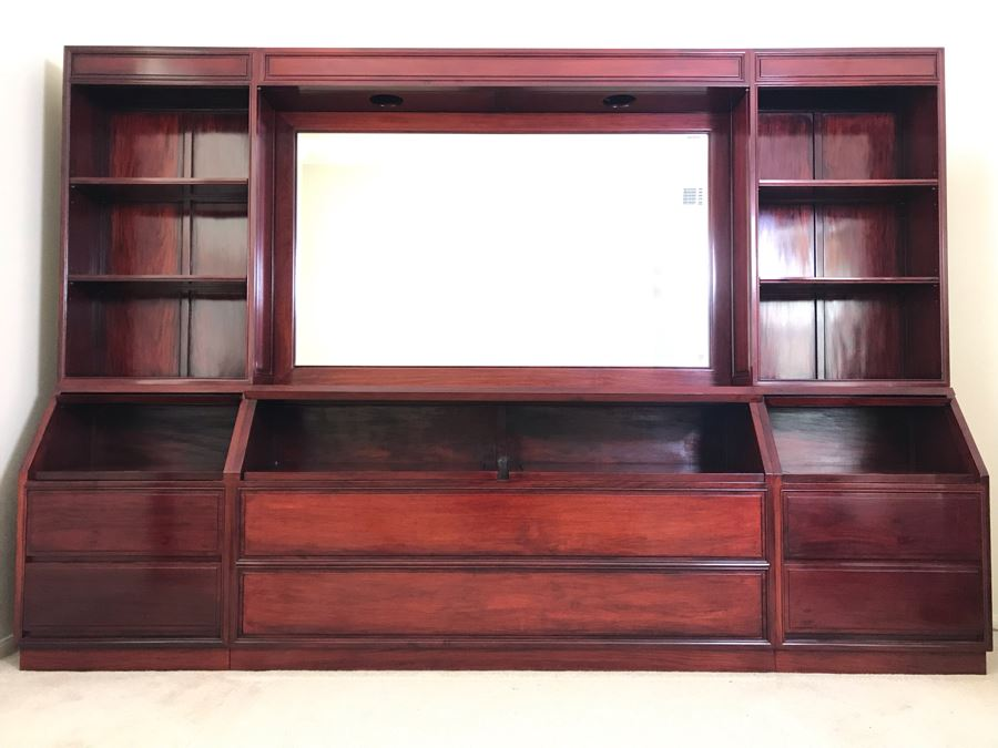 Stunning Solid Rosewood Headboard With Large Mirror, Overhead Lighting, Shelving And 4-Drawer Built-In Nightstands 114'W X 18'D X 78'H - Will Deliver And Assemble Anywhere In SD County For Additional $220 [Photo 1]