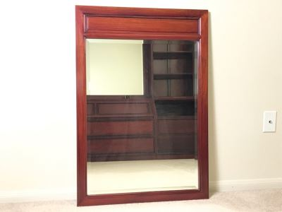 Rosewood Beveled Glass Wall Mirror 27.5 X 40