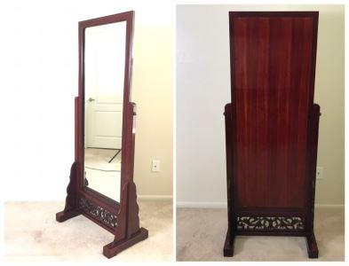 Stunning Full-Length Chinese Rosewood Standing Beveled Glass Mirror Adjustable 29W X 70.5H X 18D
