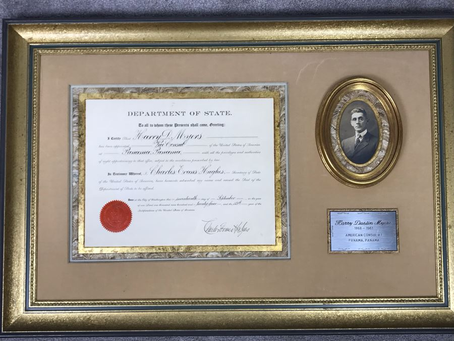 Framed Antique 1924 Department Of State Certificate Hand Signed By Secretary Of State Charles Evans Hughes Recognizing Harry Dustin Myers 1868-1961 Service As American Consul At Panama, Panama 35W X 24H [Photo 1]
