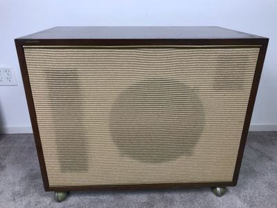 Mid-Century Acosti-Craft Speaker Cabinet With Gold Grill Cloth And Casters Perfect For Side Table Or Bar 31.5W X 18D X 27H