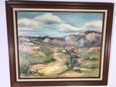 Original 1960 Signed Plein Air Landscape Painting On Board Signed G. Beckman 36 X 30