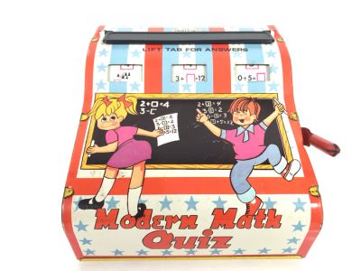 Tin Litho Modern Math Quiz Mechanical Flash Cards Game By Wolverine Working