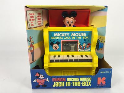 New In Box Mickey Mouse Musical Jack In The Box Disney Toy By Kohner No. 711 Working