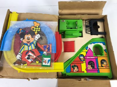 Vintage Walt Disney's Mickey Mouse Fun Castle Roller Coaster With Box