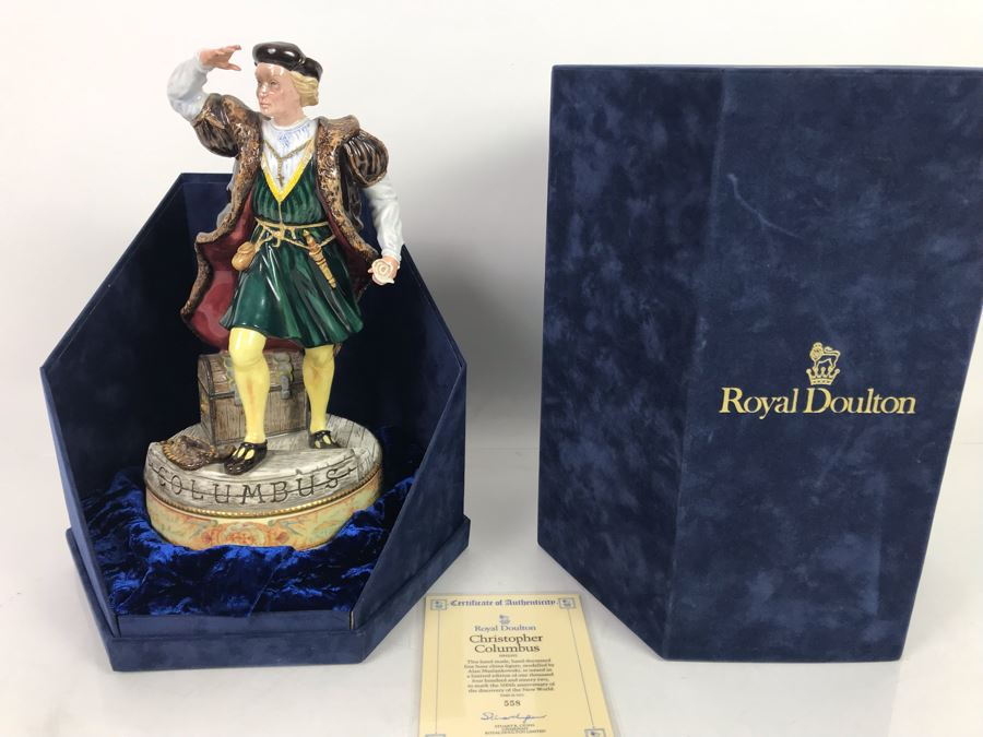 Limited Edition Royal Doulton Christopher Columbus Statue Figurine With Original Box HN 3392 Number 558 Of 1492 12'H [Photo 1]