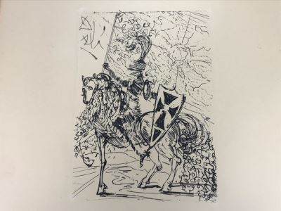 Original Etching 'El Cid' By Salvador Dali Facsimile Signed With Certificate Of Authenticity 4.5 X 6.5