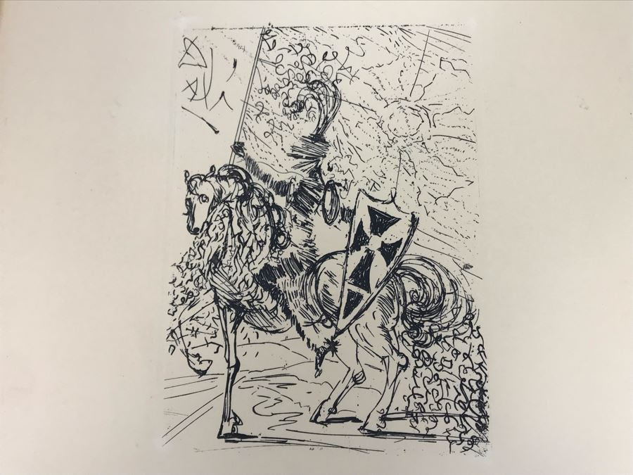 Original Etching 'El Cid' By Salvador Dali Facsimile Signed With Certificate Of Authenticity 4.5 X 6.5 [Photo 1]