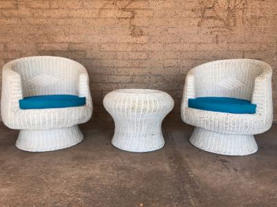 Pair Of Mid-Century White Wicker Barrel Chairs And Mushroom Table