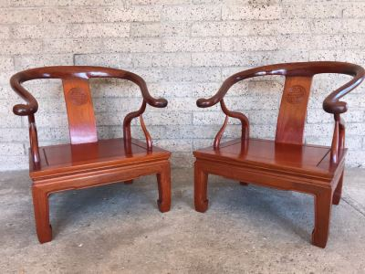 Pair Of Vintage Chinese Hong Kong Armchairs - View Photos To See Seat Cushions