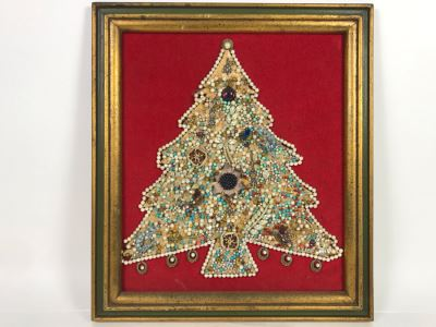 Framed Christmas Tree Vintage Costume Jewelry Collage Artwork Featuring Northrop 25 Year Pin (Probably Gold) 16 X 18