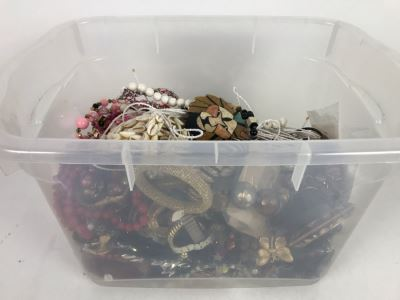 Plastic Bin Mixed Bag Of Costume Jewelry See Photos