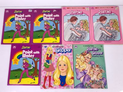 New Old Stock Vintage Coloring Books: Barbie And Skipper