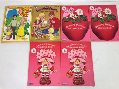 New Old Stock Vintage Coloring Books: The Sunshine Family And Strawberry Shortcake