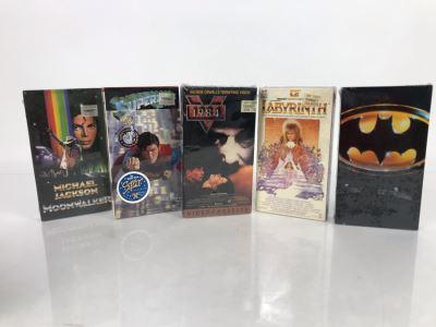 (5) Sealed Vintage VHS Movies: Michael Jackson Moonwalker, Superman, 1984, Labyrinth David Bowie, Batman