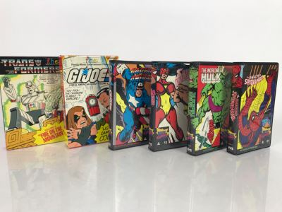 (6) Vintage VHS Movies Marvel Comics Hulk, Spider-Man, Captain America, G.I. Joe, Transformers