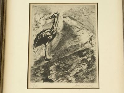 Hand Signed Marc Chagall Original Etching 73 Of 100 'Le Heron From Jean De La Fontaine from Fables of Fontaine 1952' (1887-1985 Known For Abstract Village Peasant Themes) 10 X 13