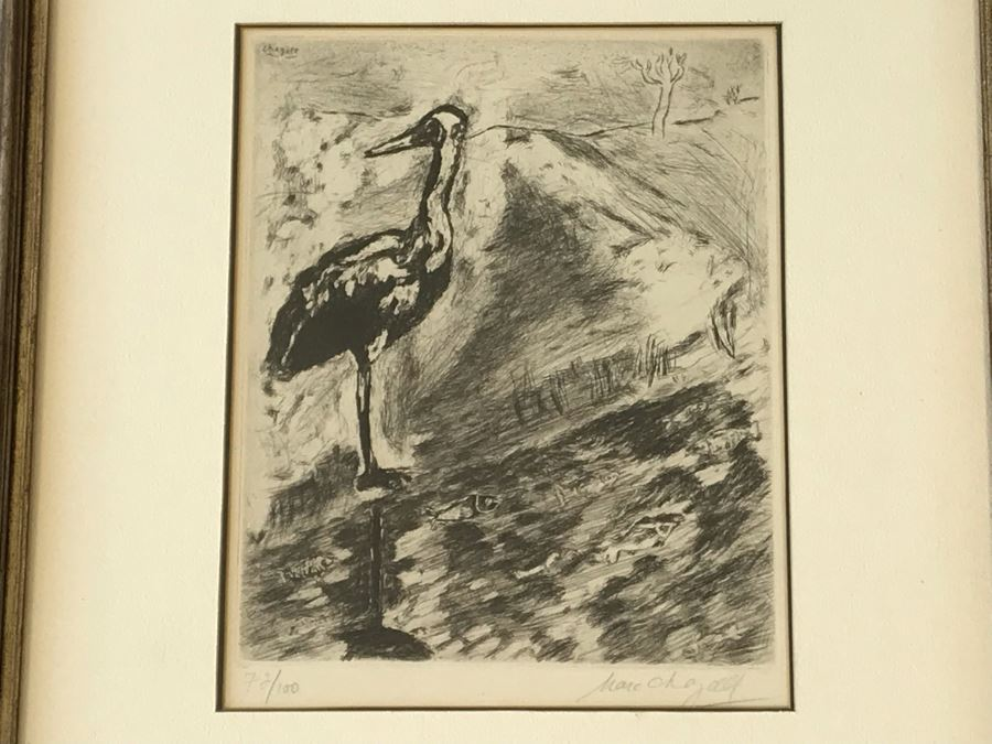 Hand Signed Marc Chagall Original Etching 73 Of 100 'Le Heron From Jean De La Fontaine from Fables of Fontaine 1952' (1887-1985 Known For Abstract Village Peasant Themes) 10 X 13 [Photo 1]