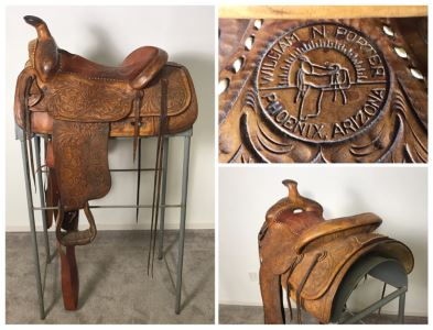 Vintage William N Porter Phoenix, Arizona Tooled Leather Western Riding Horse Saddle With Metal Display Stand - World's Finest Made Saddles - Retails $4,000 - La Jolla Estate (LJE)
