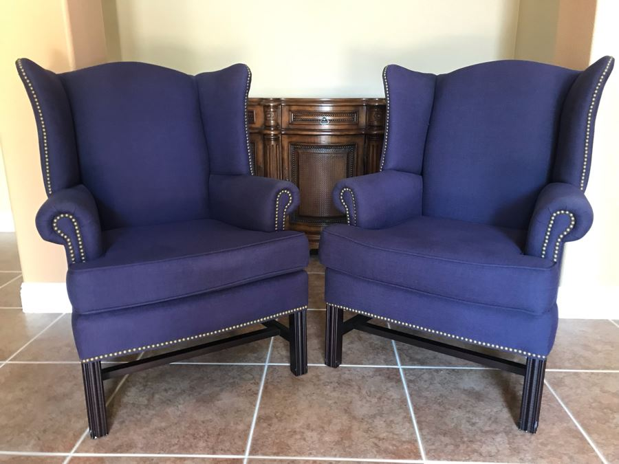 Last Minute Add Pair Of Pottery Barn Blue Wingback