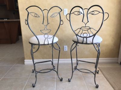 Pair Of Metal Bar Stools By Collezione Europa USA - Carlsbad Estate