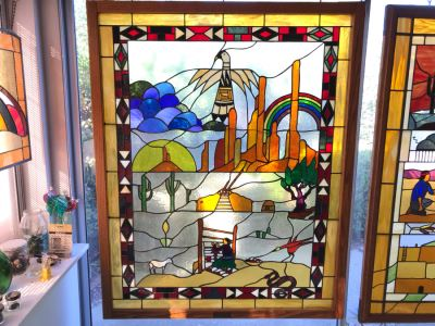 Stunning Large One-Of-A-Kind Hand Crafted Artist Stained Glass Window Titled 'Indian Summer' By Maria Christina Becker 40 X 50 Retailed For $2,500 In 1970s
