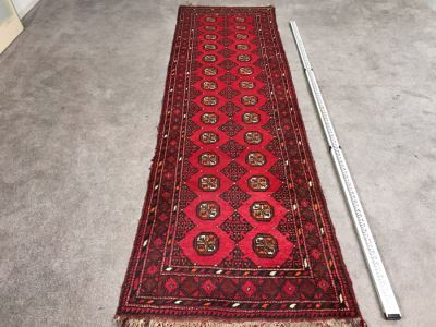 Vintage Hand Knotted Wool Perisan Runner Rug 9'1' X 2'9'
