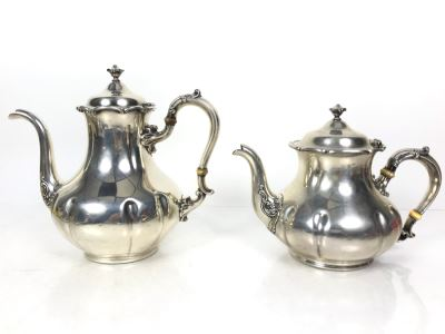 JUST ADDED - Stunning Vintage Gorham Sterling Silver Coffee Pot (2 1/4) And Teapot (1 3/4) 1,014g TW Sterling