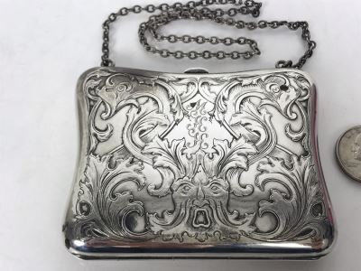 JUST ADDED - Vintage Chased Sterling Silver Wallet Compact With Chain 111g