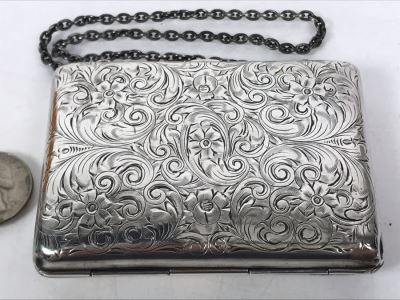 JUST ADDED - Vintage Hand Chased Sterling Silver Purse Evening Bag Wallet Floral Motif 4 X 2.5 172.2g