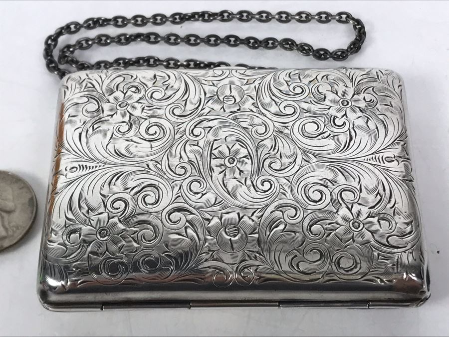 JUST ADDED - Vintage Hand Chased Sterling Silver Purse Evening Bag Wallet Floral Motif 4 X 2.5 172.2g [Photo 1]