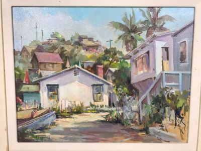 Original Signed Plein Air Oil Painting Of Laguna Titled 'Summer Road, Crystal Cove' By Marcy Fitzgerrell (1917-2003) (One Of First Woman Animators At Walt Disney Studios) 17 X 13