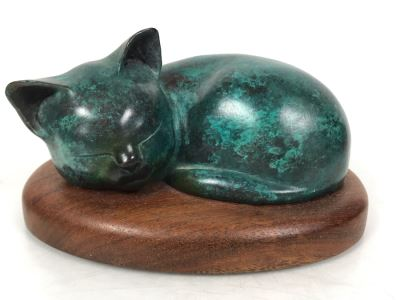 JUST ADDED -  Signed Bronze Titled 'Sleeping Kitten' By Wah Chang 5.5W X 4D X 3H
