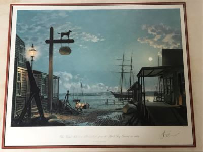 John Stobart Limited Edition Print Titled 'Vineyard Haven' The Topsil Schooner Shenandoah From The Black Dog Tavern In 1984 Signed By Artist 26.5 X 22