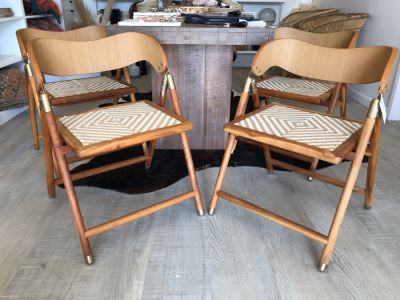 Set Of (4) Justina Uttan Folding Chairs Natural Color Retails $1,480