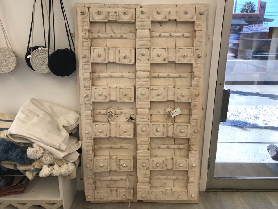 Vintage Pair Of Indian Wooden Panel Doors With Iron Hardware Antique White Heavy Each Apx 23W X 69H X 3.5D Retails $1,250 [Photo 1]